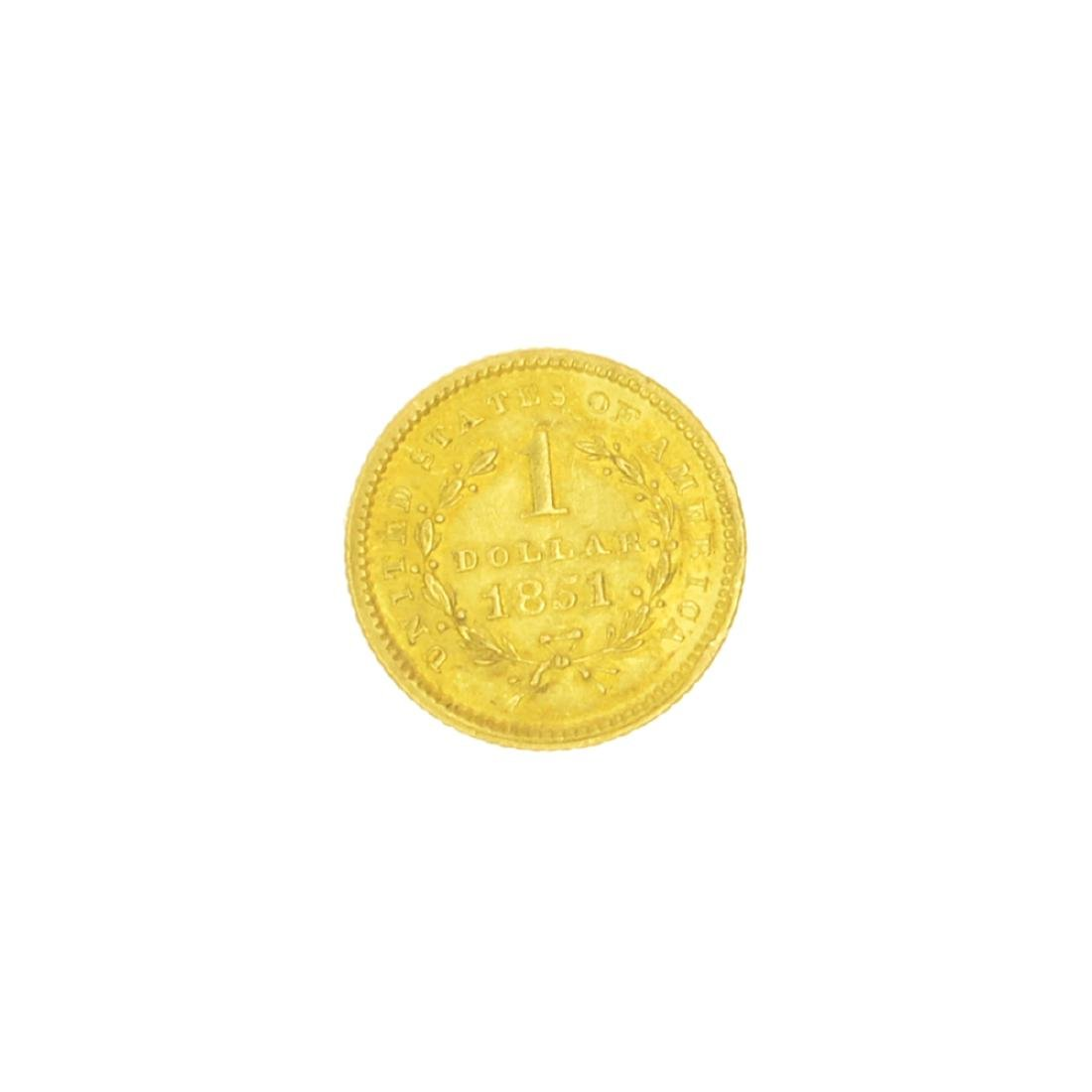 Very Rare 1851 $1 U.S. Liberty Head Gold Coin Great - 2