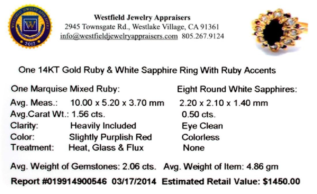 APP: 1.4k 14 kt. Gold, 2.06CT Ruby And White Sapphire - 2