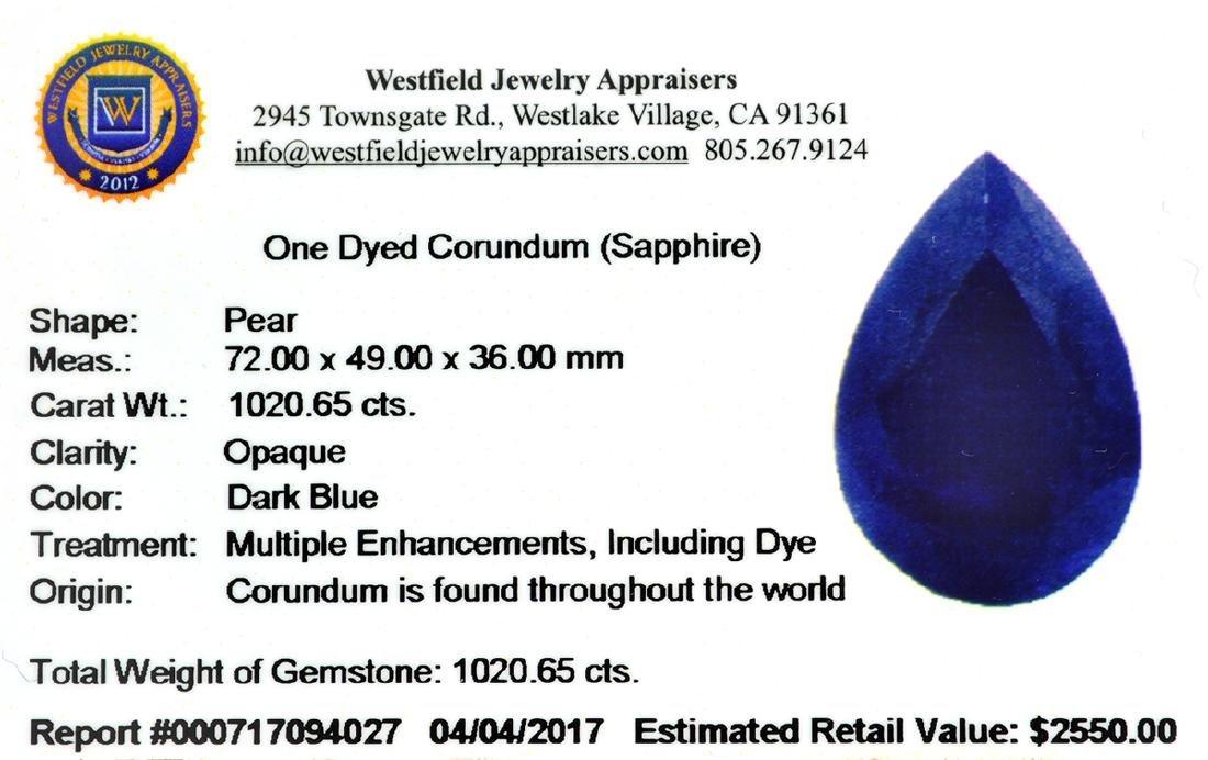APP: 2.6k 1,020.65CT Pear Cut Blue Sapphire Gemstone - 3