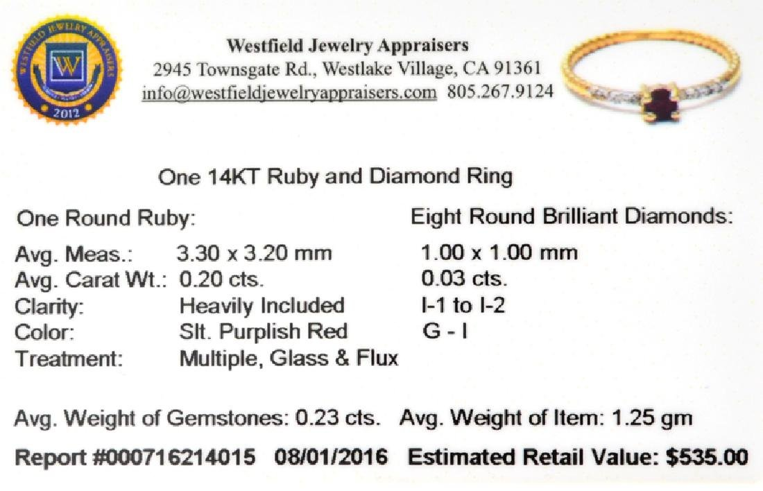 APP: 0.5k Fine Jewelry 14 KT Gold, 0.23CT Red Ruby And - 2