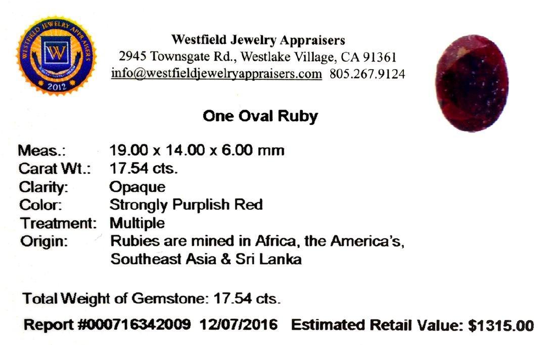 APP: 1.3k 71.54CT Oval Cut Ruby Gemstone - 2
