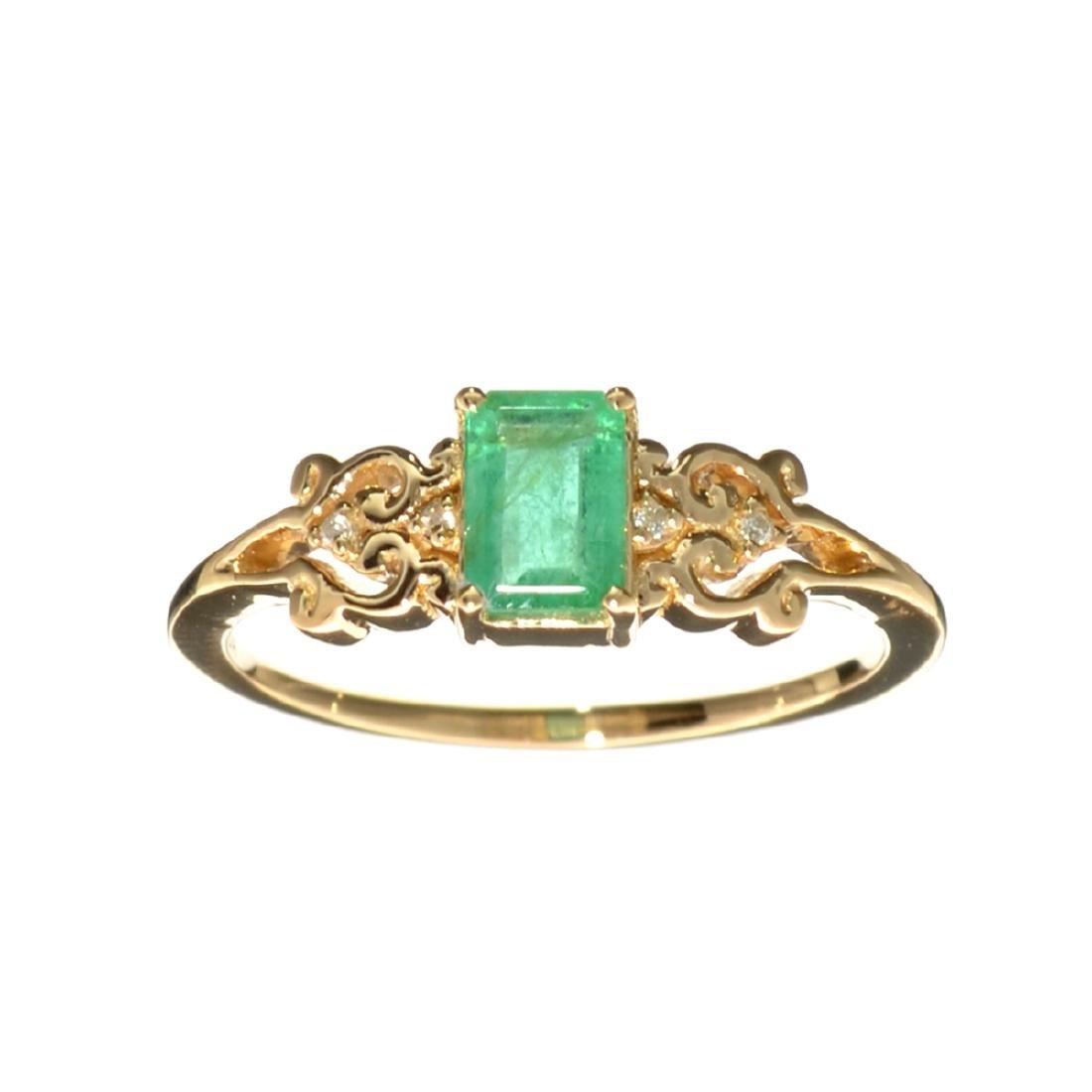 Designer Sebastian 14 KT Gold 0.61CT Emerald and 0.01CT