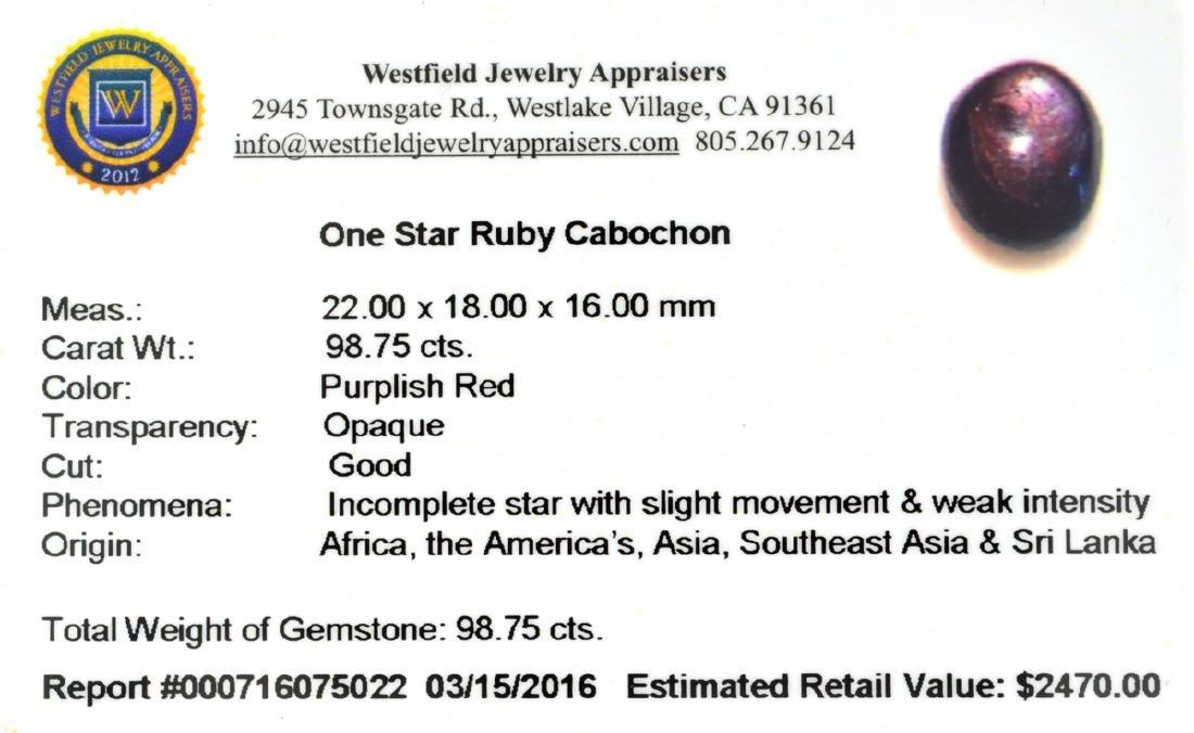 APP: 2.5k 98.75CT Cabochon Red Star Ruby Gemstone - 2