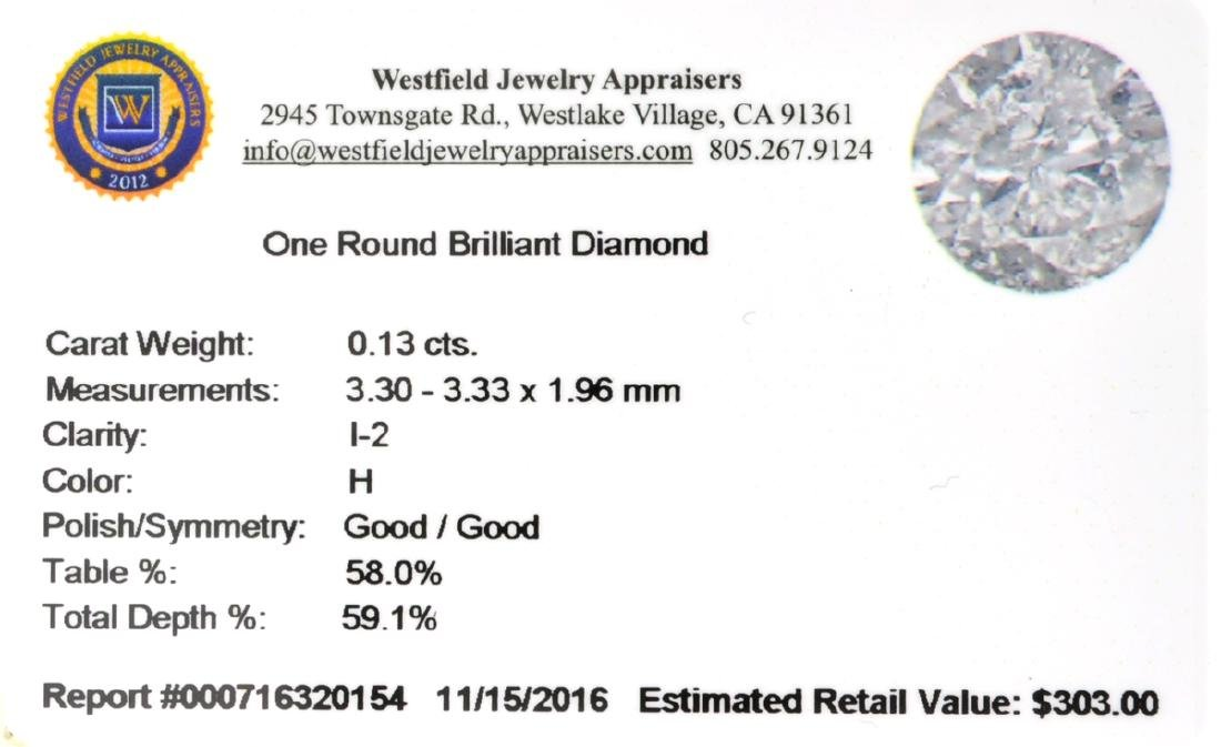 APP: 0.3k Fine Jewelry 0.13CT Round Brilliant Cut - 2