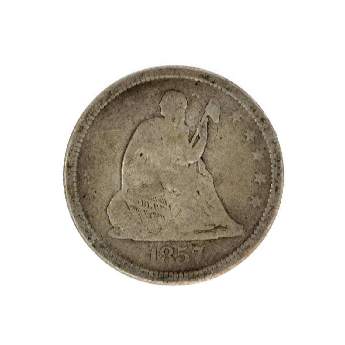 1857 Liberty Seated Quarter Dollar Coin