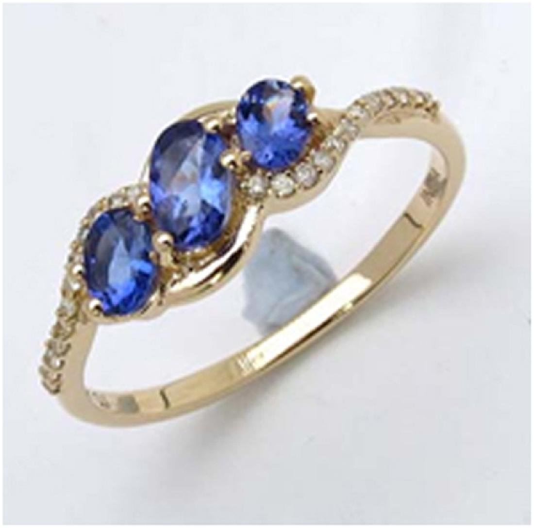 *Fine Jewelry 14K Gold, 1.74CT Tanzanite Oval And White