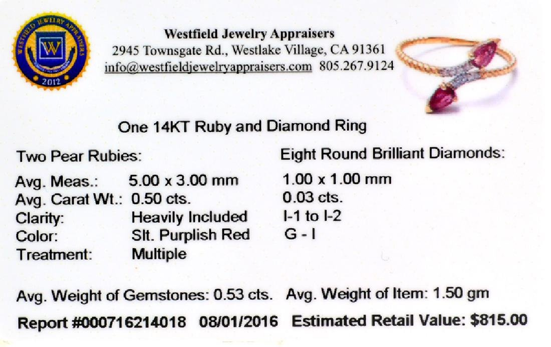 APP: 0.8k Fine Jewelry 14 KT Gold, 0.53CT Ruby And - 2