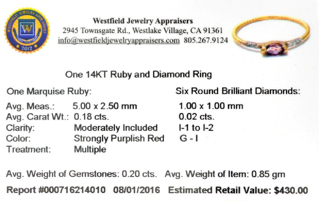 APP: 0.4k Fine Jewelry 14 KT Gold, 0.20CT Red Ruby And - 2