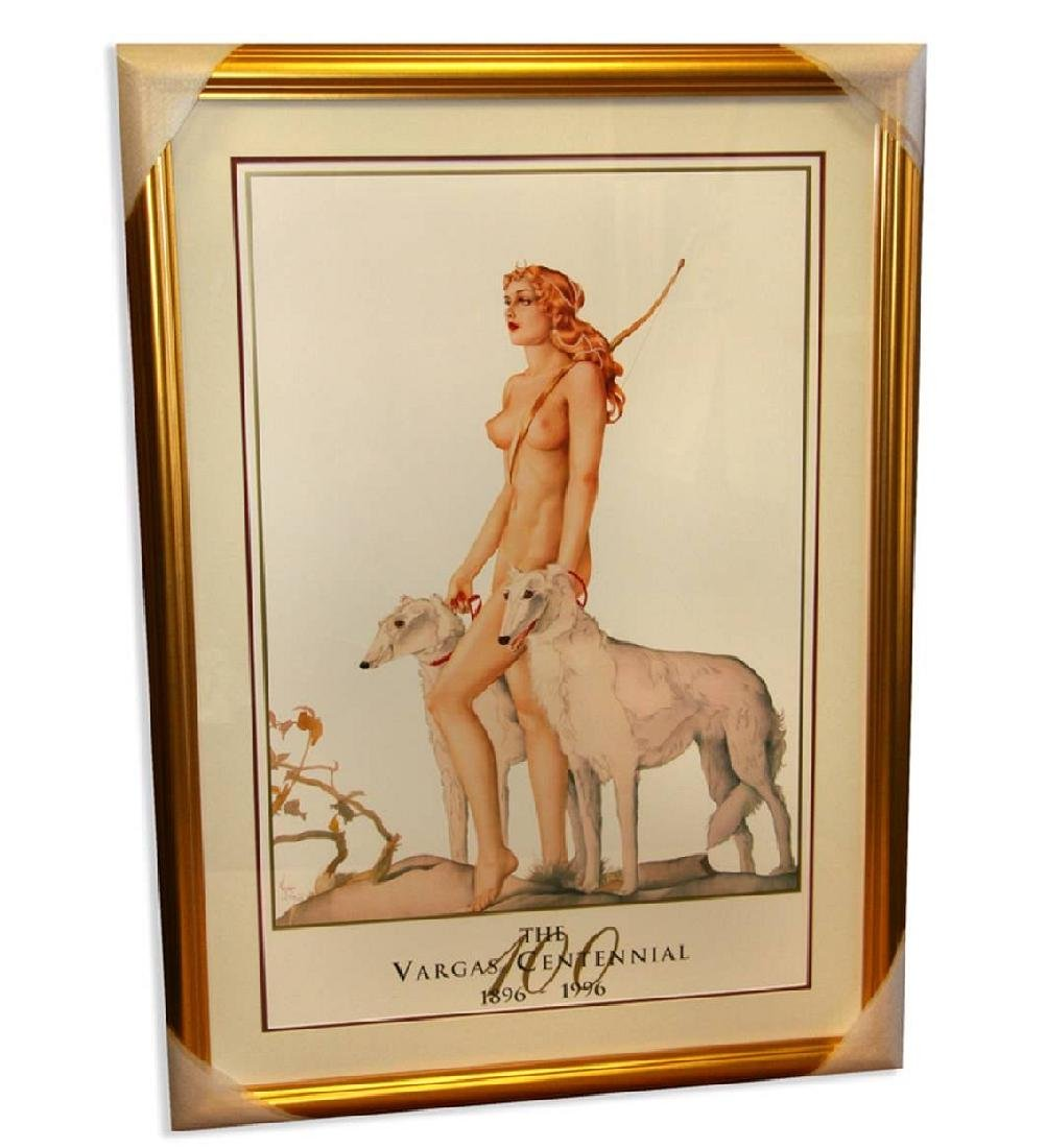 Alberto Vargas (Two Dogs) Exquisitely Museum Framed &