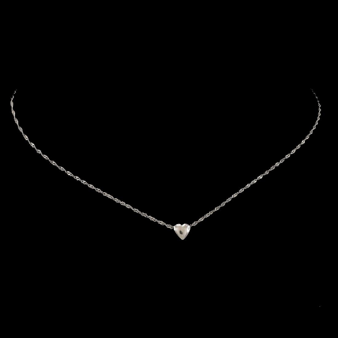 *Fine Jewelry 14 KT White Gold Singapore W Puffed Heart