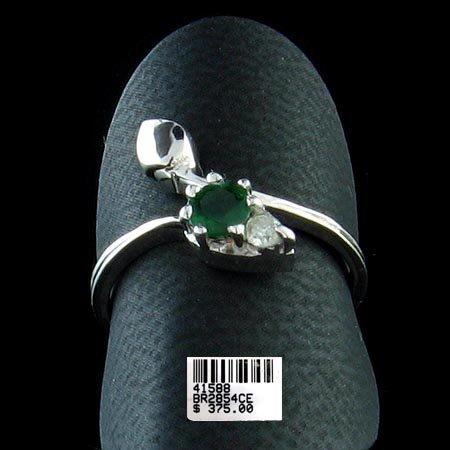 5228: 14 kt. White Gold, Emerald & Diamond Ring