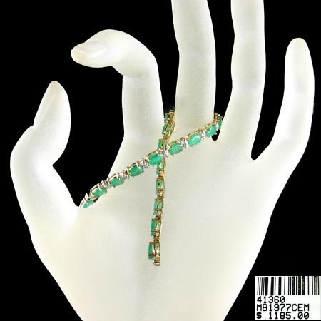 5232: 14 kt. Gold, 10.50CT Emerald and Diamond Bracelet