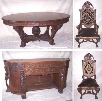 5273: Museum Quality Victorian Black Walnut Dining Room