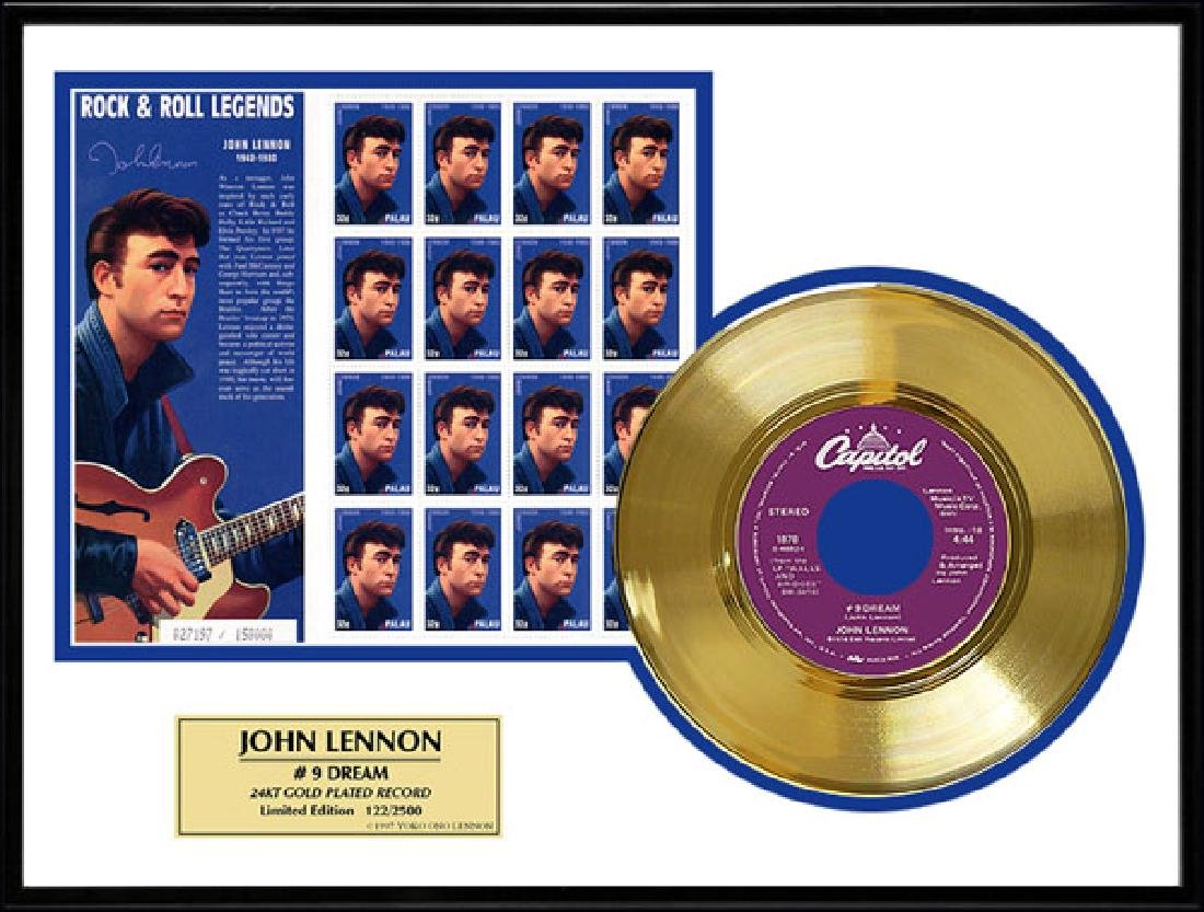 JOHN LENNON ''#9 Dream'' Gold Record /w Stamp-Limited