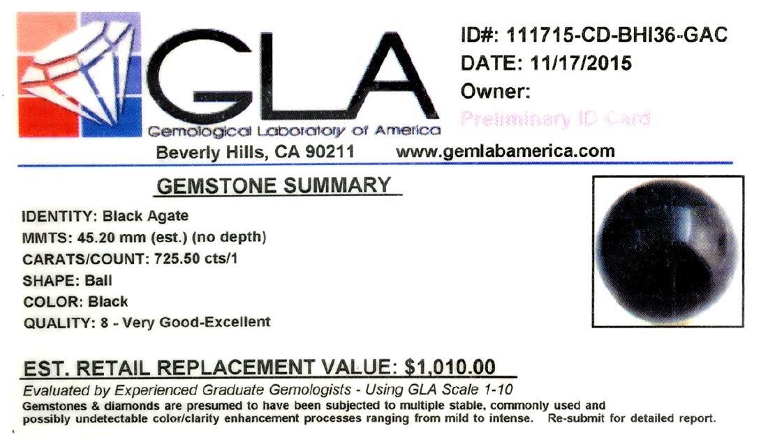 APP: 1k Rare 725.50CT Sphere Cut Black Agate Gemstone - 2