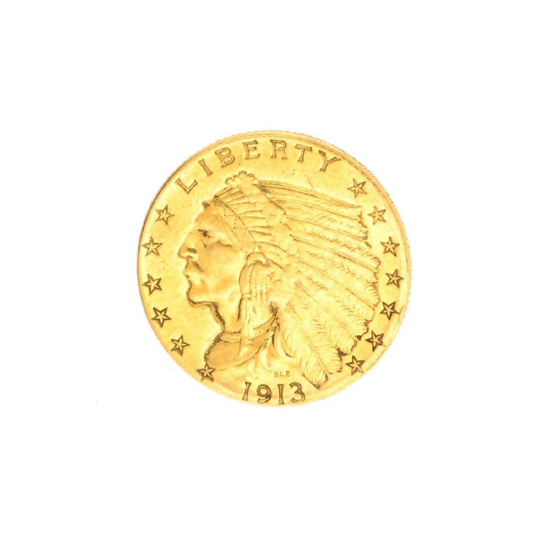 Very Rare 1913 $2.50 U.S. Indian Head Gold Coin Great