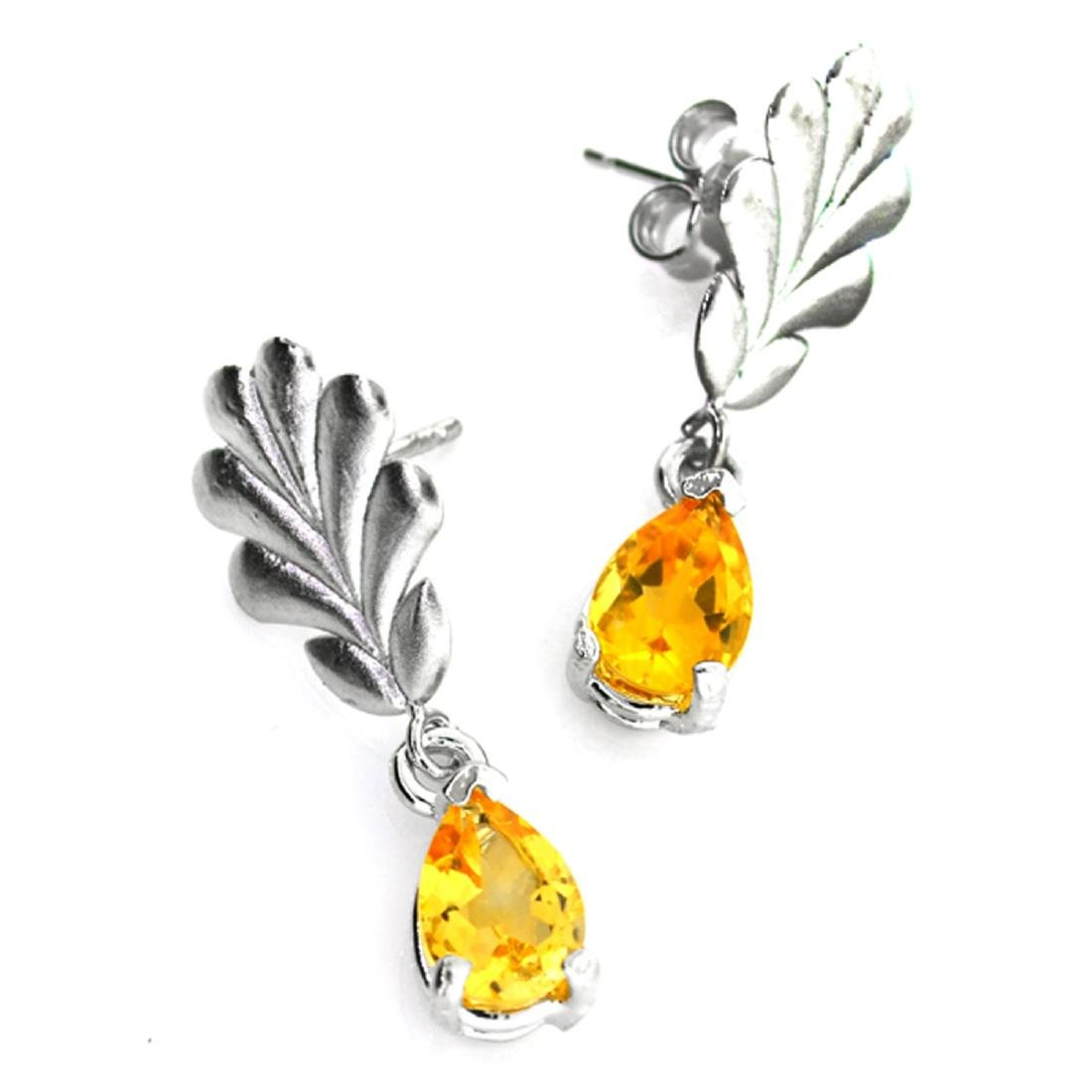 APP: 0.4k 1.25CT Pear Cut Citrine Quartz And Sterling