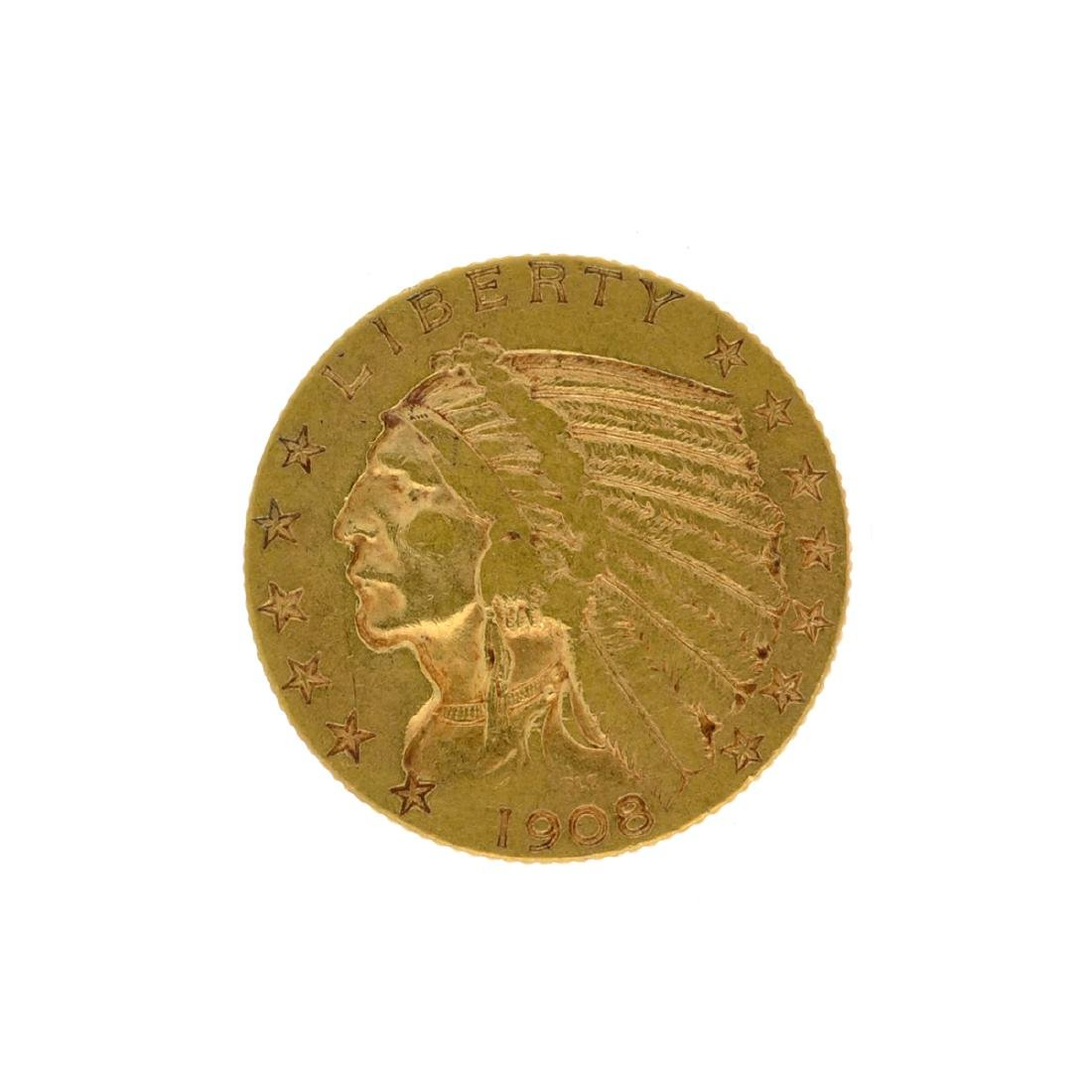 *1908 $5 Indian Head Gold Coin (DF)