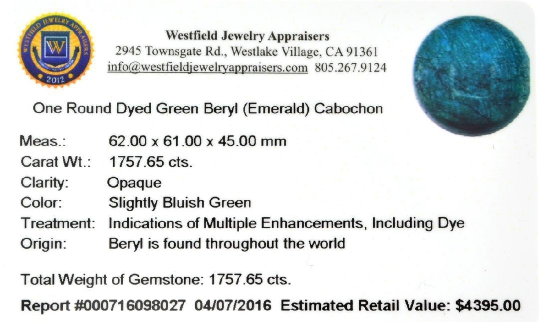 APP: 4.4k 1,757.65CT Round Cut Cabochon Green Beryl - 2