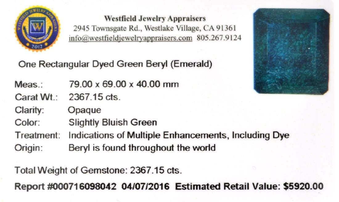 APP: 5.9k 2,367.15CT Rectangular Cut Green Beryl - 3
