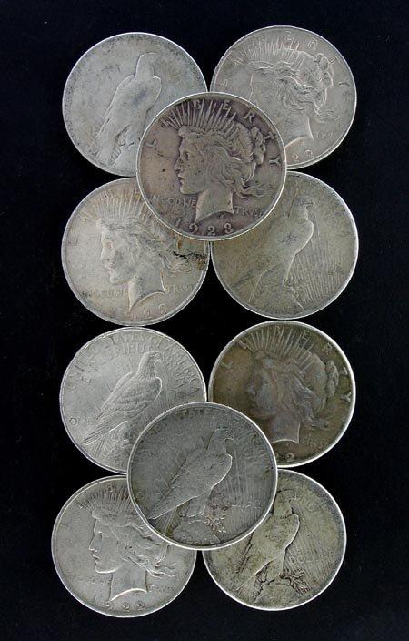 4: 10 Misc. Peace Silver Dollar Coins Coin, COLLECT!