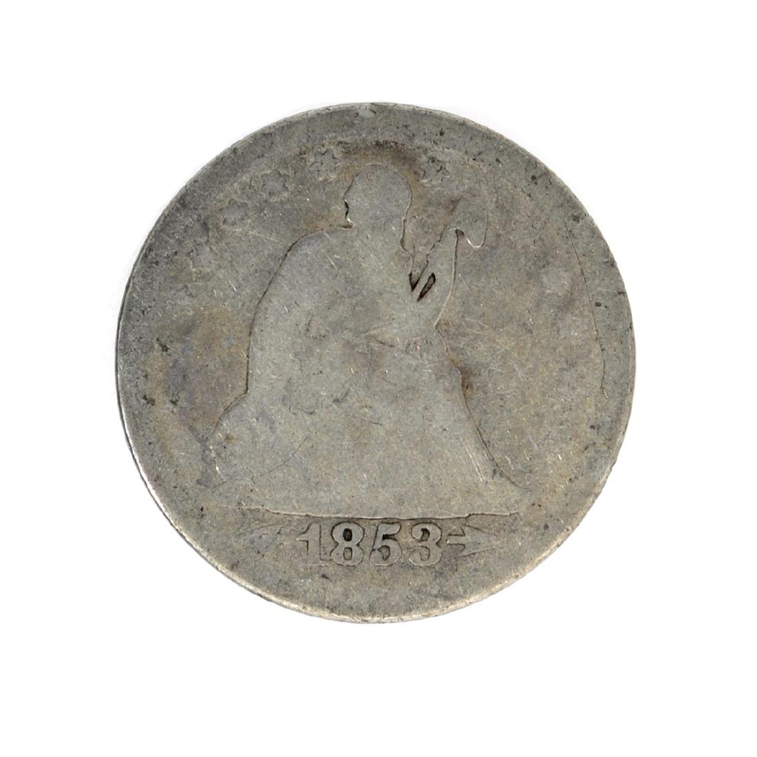 1853 Liberty Seated Arrows At Date, Rays Around Eagle