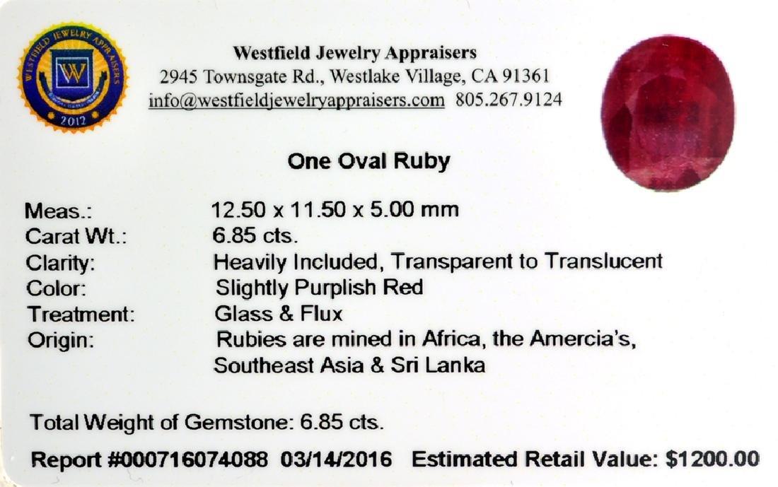 APP: 1.2k 6.85CT Oval Cut Ruby Gemstone - 2