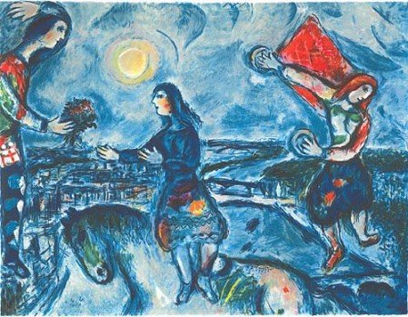 2032: CHAGALL Litho - Lovers Over Paris,