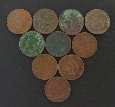 2036: GOV: 10 Indian Head Pennies Coin, COLLECTABLE!!