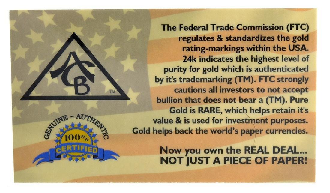 One Grain .9999 Fine 24 Karat Gold American Certified - 2
