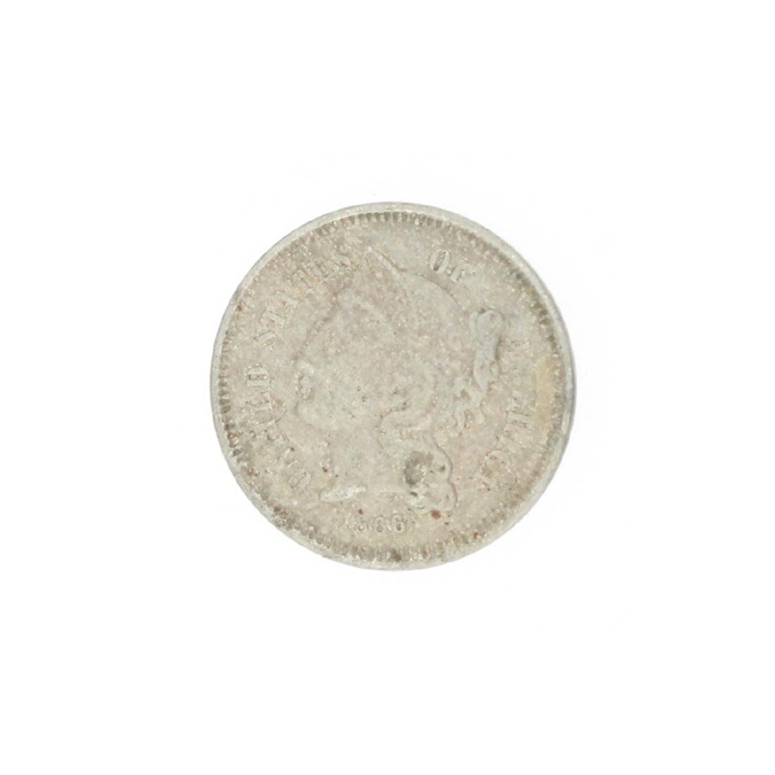 1866 Three Cent Piece Nickel Coin