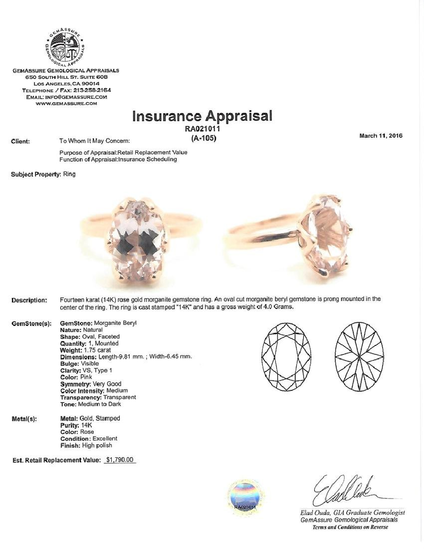 APP: 1.8k *Fine Jewelry 14 kt. Rose Gold, 1.75CT Oval - 2