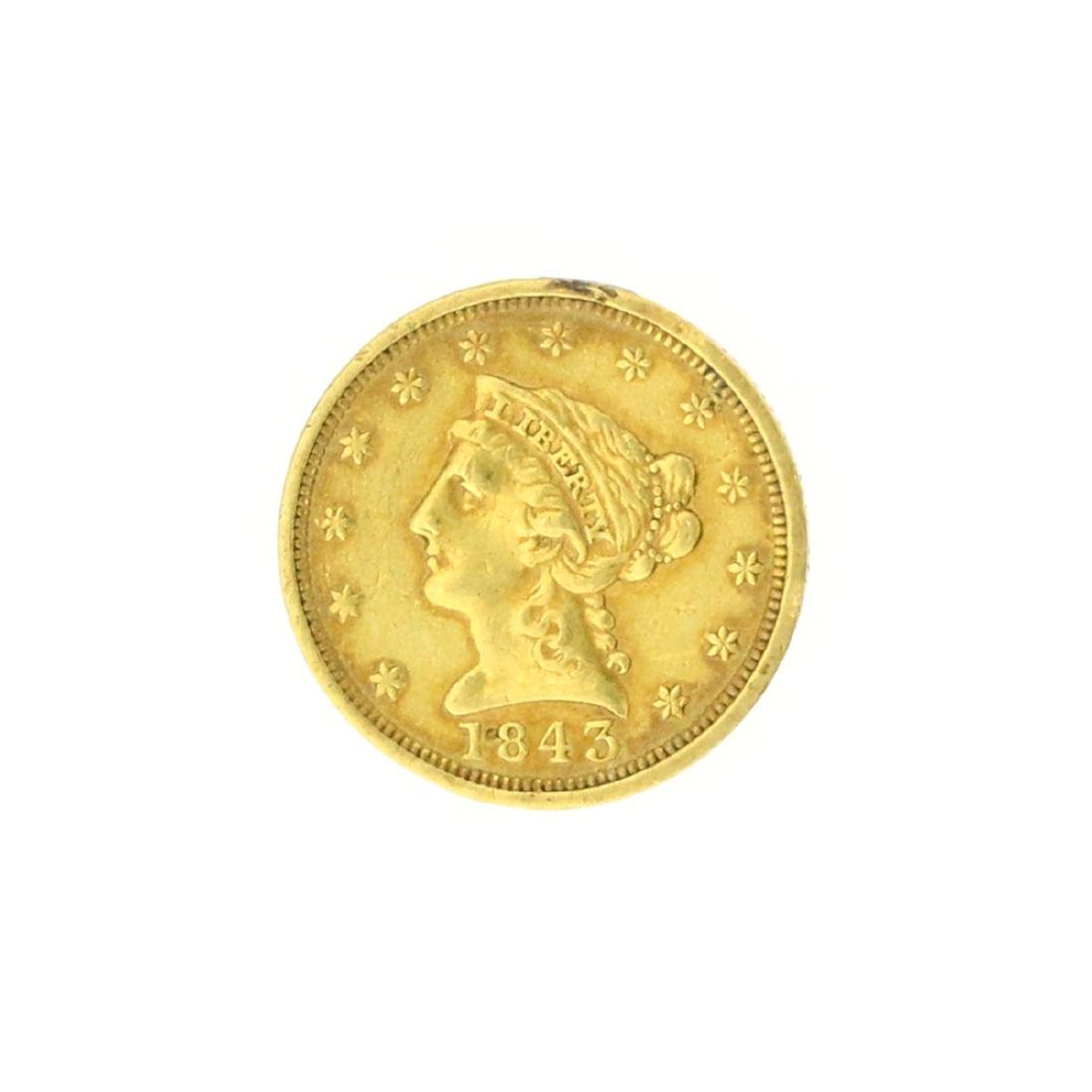 Extremely Rare 1843 $2.50 U.S. Liberty Head Gold Coin