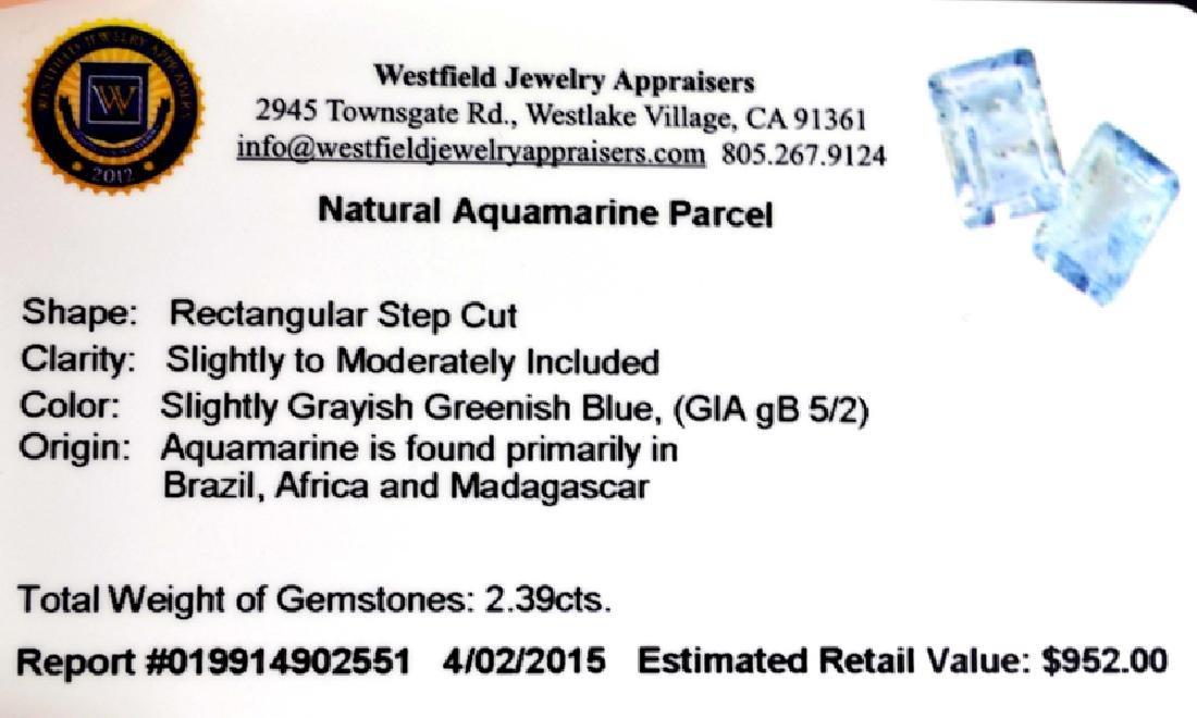 APP: 1k 2.39CT Rectangular Step Cut Natural Aquamarine - 2