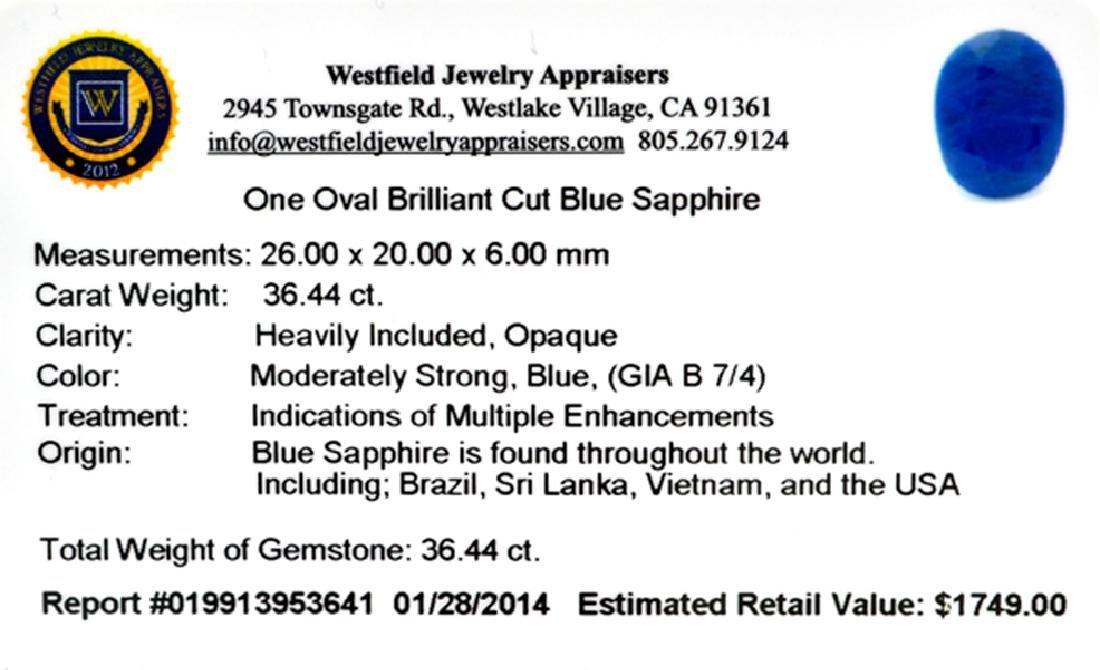 APP: 1.7k 36.44CT Oval Cut Blue Sapphire Gemstone - 2