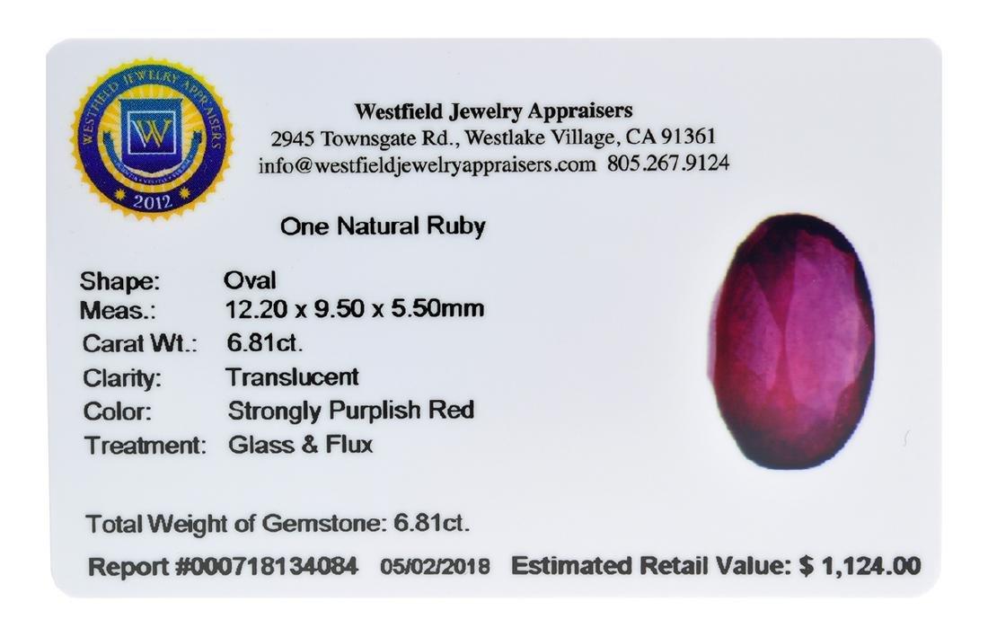 APP: 1.1k Extra Large Size 6.81CT Ruby Gemstone Very - 2