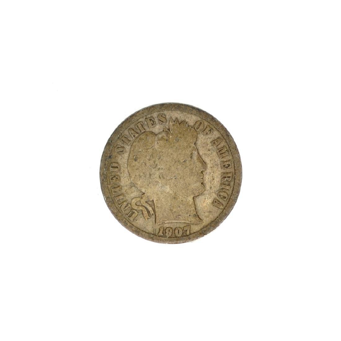 1907 Barber Head Dime Coin