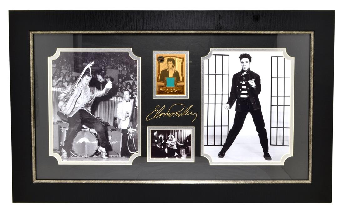 Very Rare Plate Signed Photo Of Elvis Presley With