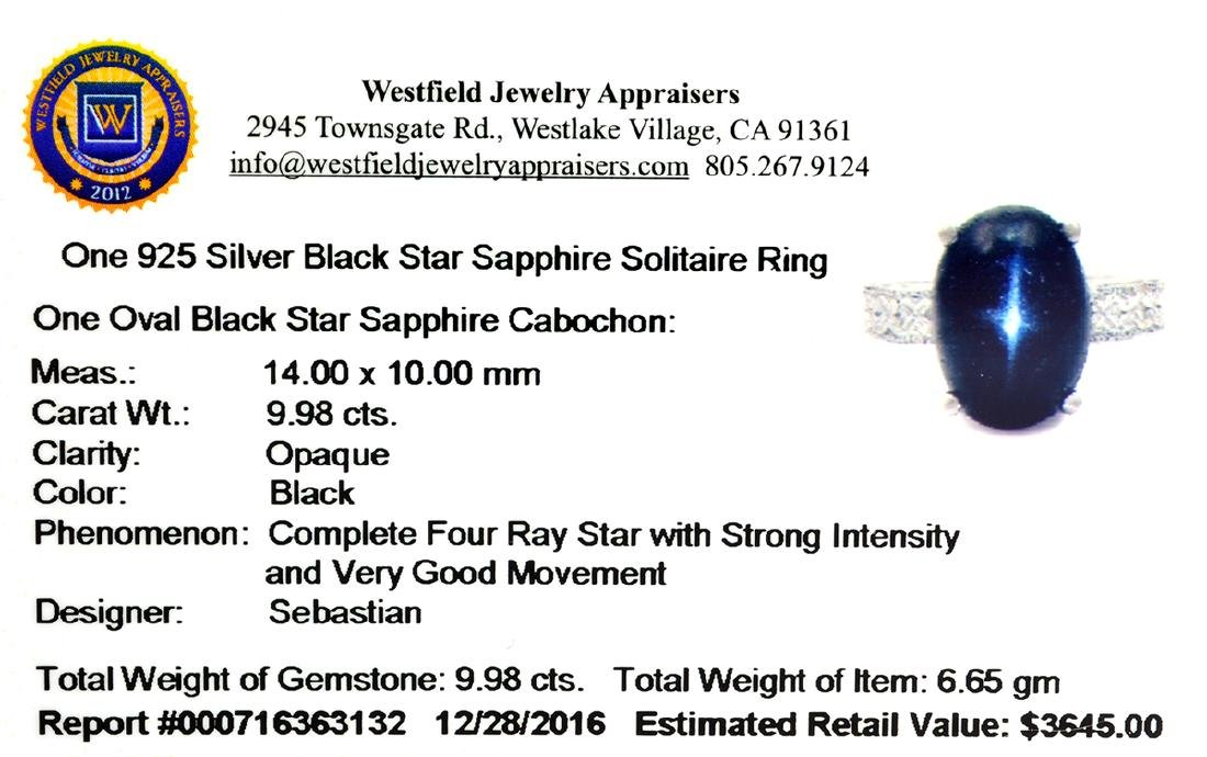 Fine Jewelry Designer Sebastian 9.98CT Oval Cut Black - 2