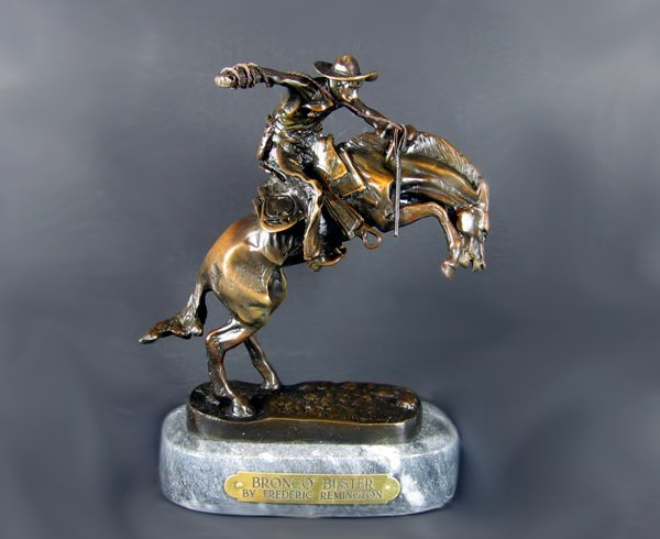 3069: Frederic Remington - Bronco Buster, 7.75 x 9.5 x