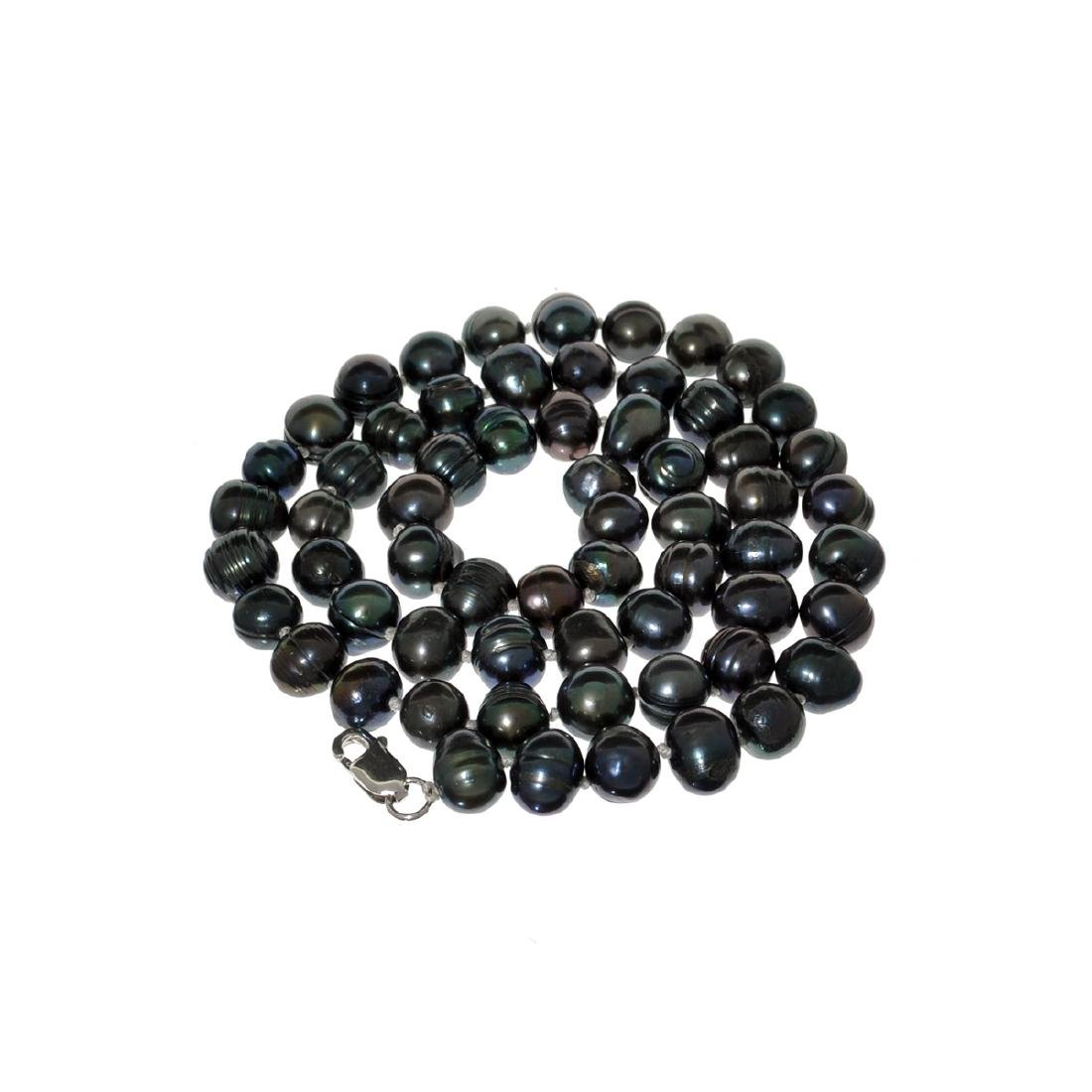 Gorgeous 18'' Black Dyed Pearl Strand with Sterling