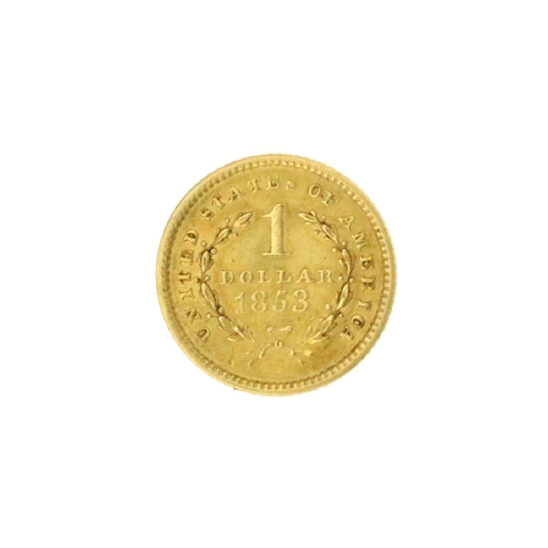 Extremely Rare 1853 $1 U.S. Liberty Head Gold Coin - 2