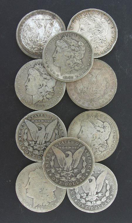 3007: 10 Assorted Morgan Silver Dollar Coin