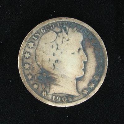 3039: 1906 Barber Head Type Half Dollar Coin