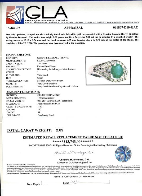 6004: APP: 13.7k 14 kt. White Gold, 1.44CT Emerald and