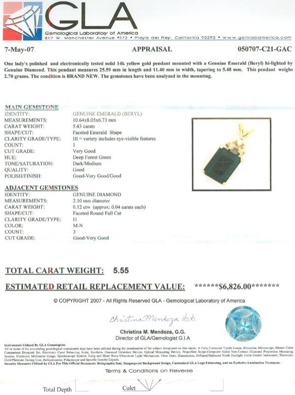 6010: APP: 6.8k 14 kt. Gold, 5.43CT Emerald and 0.12CT