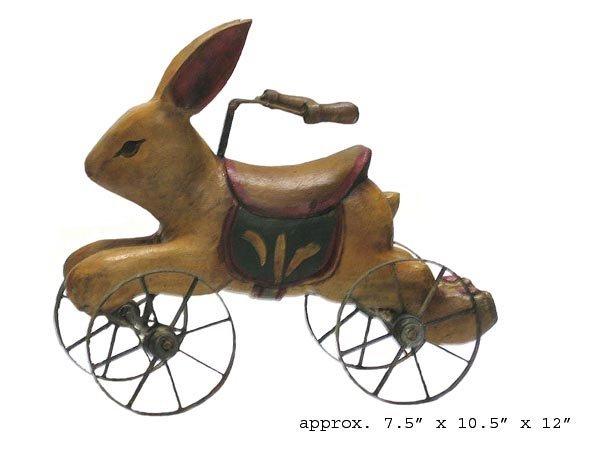 6017: Bunny on Wheels Antique, Wood Folkart