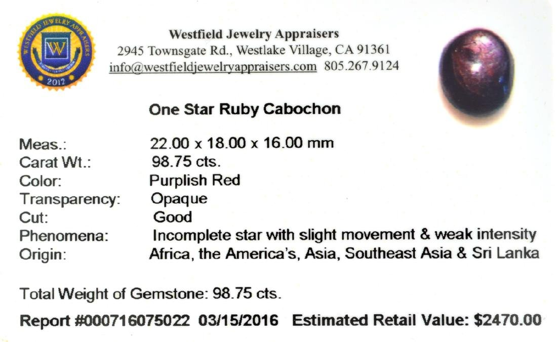 APP: 2.5k 98.75CT Cabochon Red Star Ruby Gemstone - 2