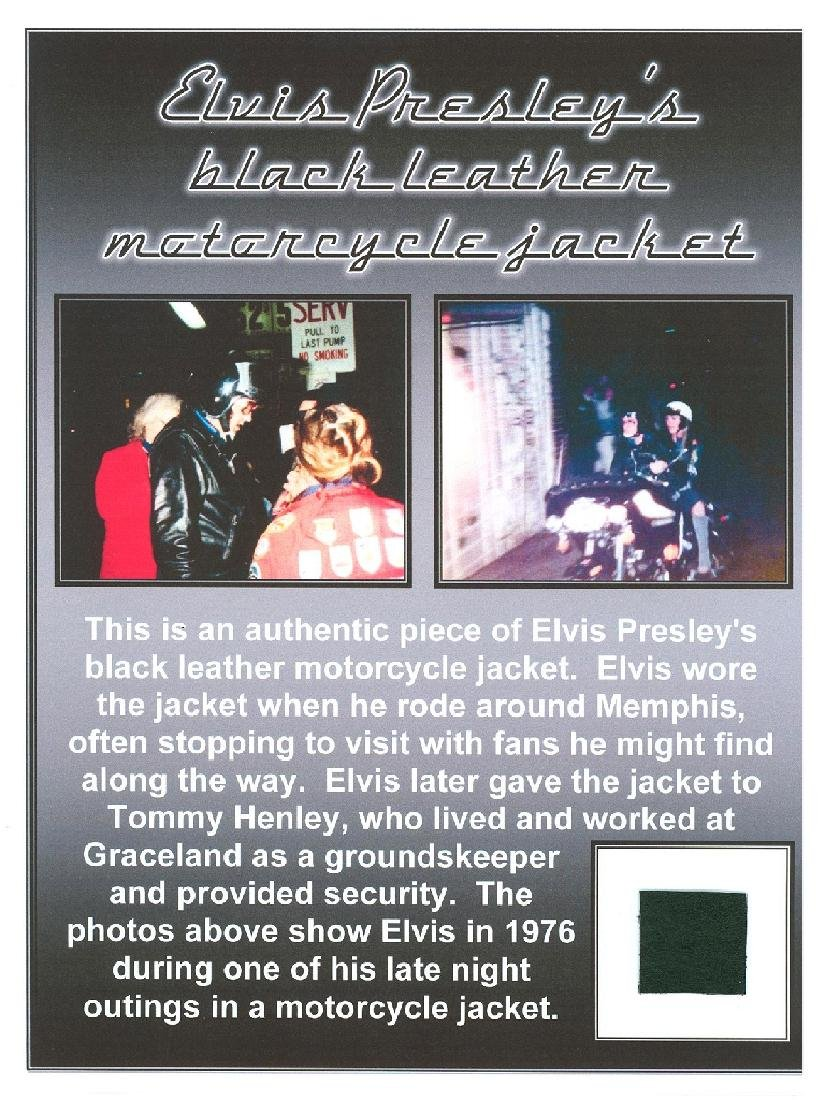 Extremely Rare Elvis Presley Black Biker Jacket Swatch