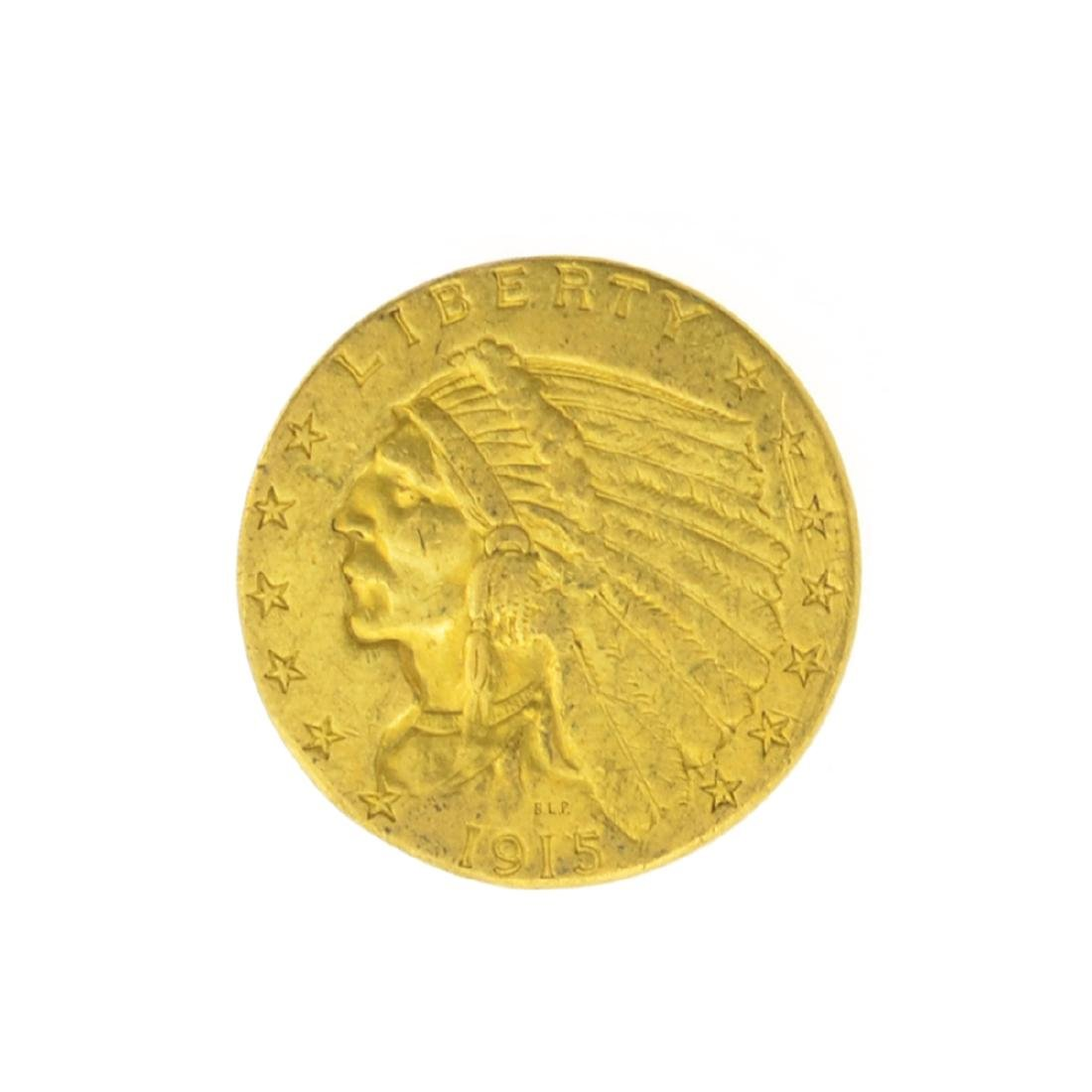 *1915 $2.50 U.S. Indian Head Gold Coin (JG)